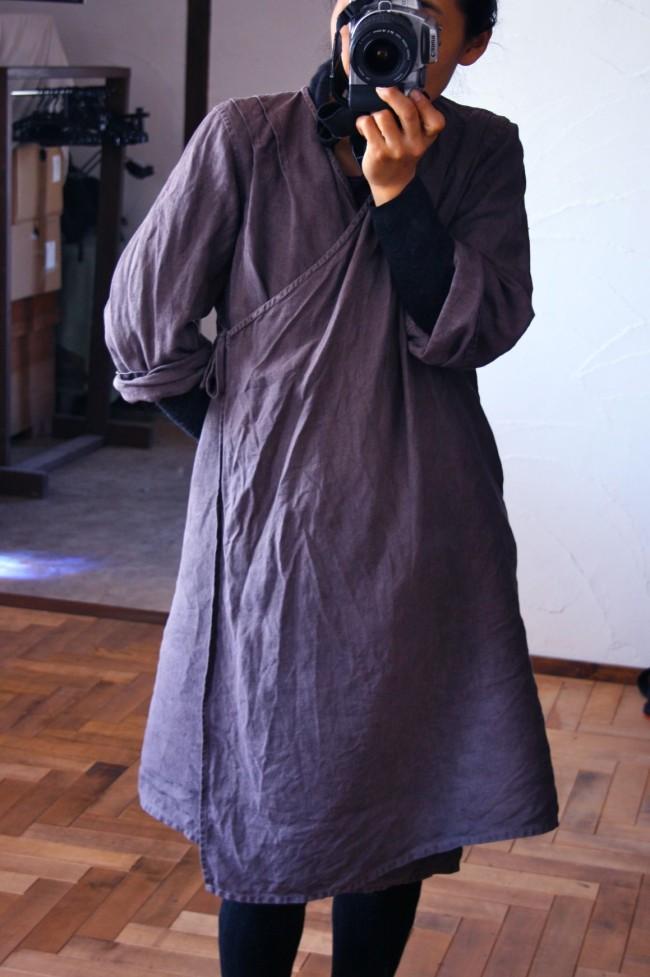 草木染めイタリアンリネンのワンピース 五倍子と茜/ linen dress dyed with chinese sumac and rose madder