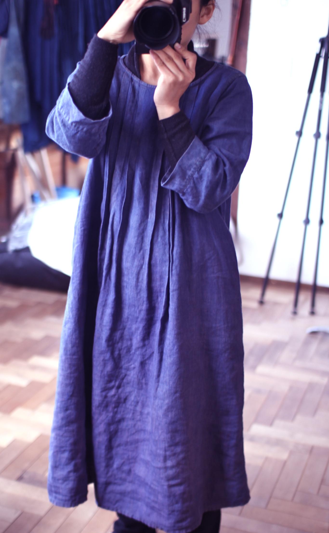藍染めイタリアンリネンワンピ indigo dyed linen dress