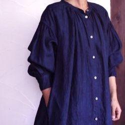 琉球藍 本藍染め リネン indigo linen robe