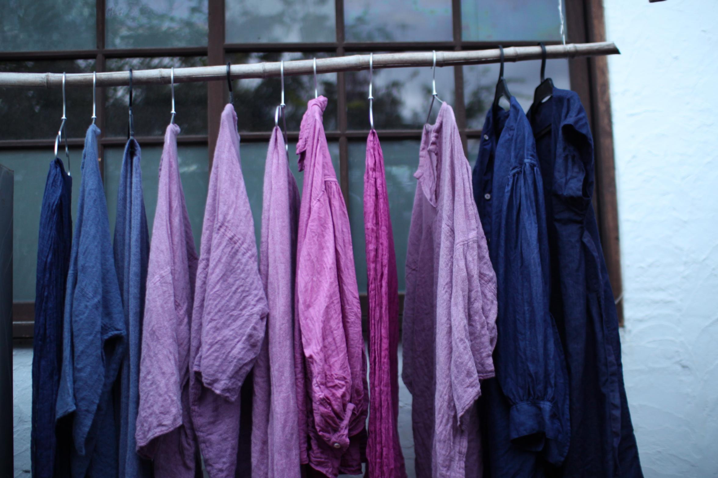 indigo dyed linen robe 草木染め 藍染め 琉球藍 藍 コチニール 染め リネン ワンピース