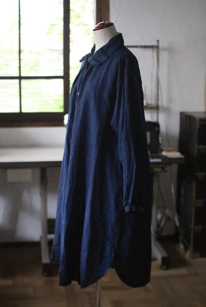 リネンシャツ 琉球藍染め